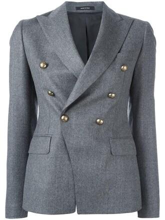 jacket double breasted women wool grey