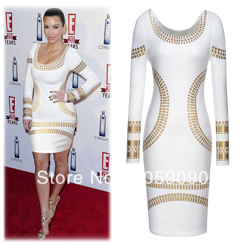 Aliexpress.com : Buy Brand hl 2013 Autumn Winter Women's White Black Golden Sequin Long Sleeve Sheath Bandage Dress Celebrity Free Shipping from Reliable celebrity figure suppliers on Vogue Official Online Shop