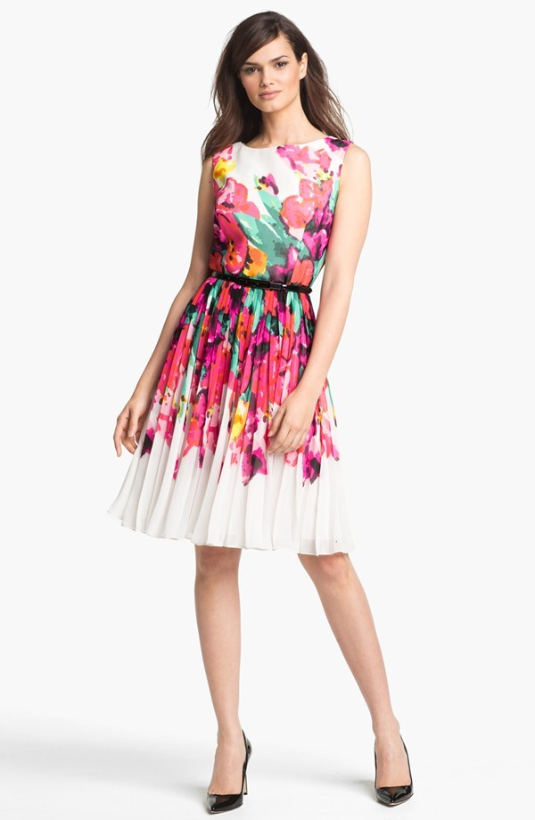 Adrianna papell floral print fit flare dress size 16