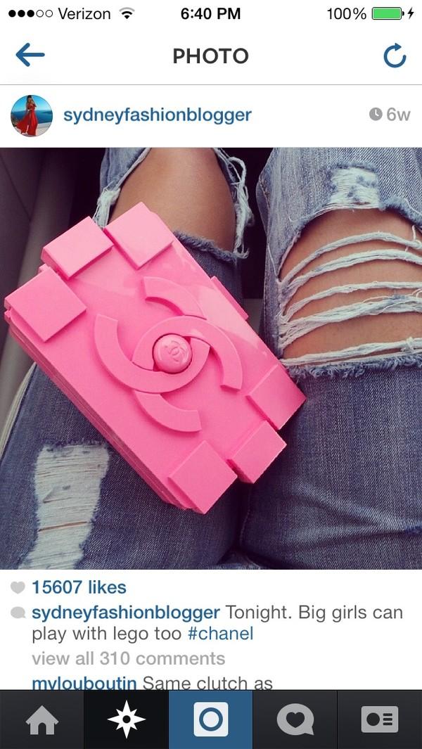 Chanel Clutch Bag Pink Bag Pink Chanel Inspired