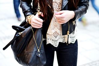 shirt bag jacket bracelets girl beautiful outfit pants fashion black lace white crochet beige lace crochet top tank top white crochet top crochet top