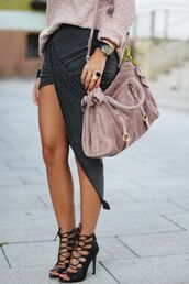 skirt,shoes,high heels,bag,pretty,beige,strappy heels,party,party shoes,asymmetrical skirt,draped,dusty pink,pink bag,suede bag,fall outfits,sweater,suede,suede purse,draped skirt