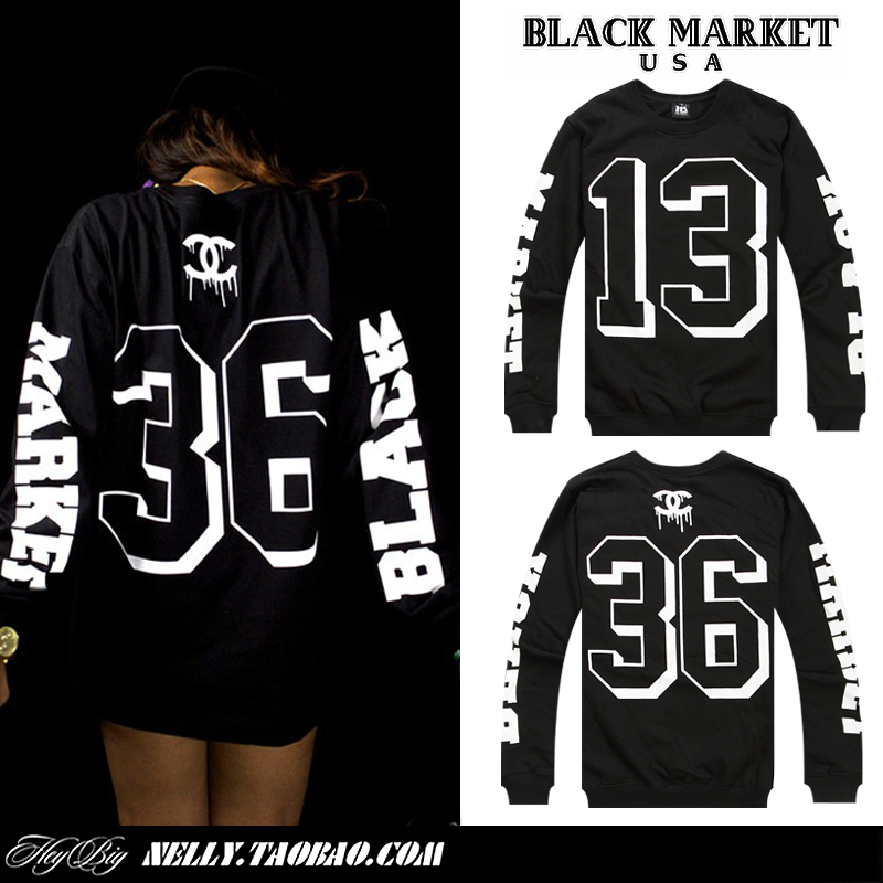 BLACK MARKET spoof big round numbers 13 men sweater hip hop-in Hoodies & Sweatshirts from Apparel & Accessories on Aliexpress.com