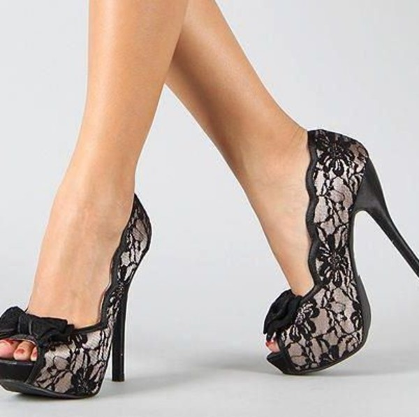 sepatuolahragaa: Black Lace Heels Open Toe Images