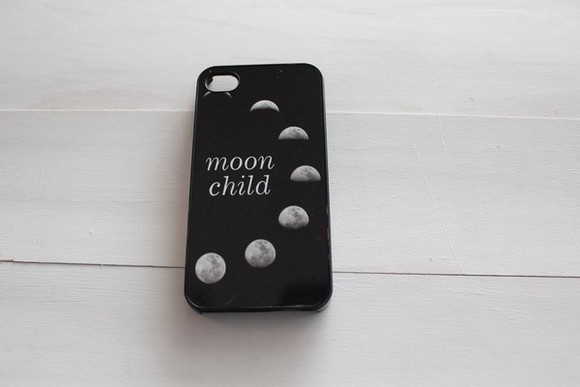 iphone case iphone cover iphone black phone case phone case black and white phone cover moon child moonchild moon phases grunge fashion