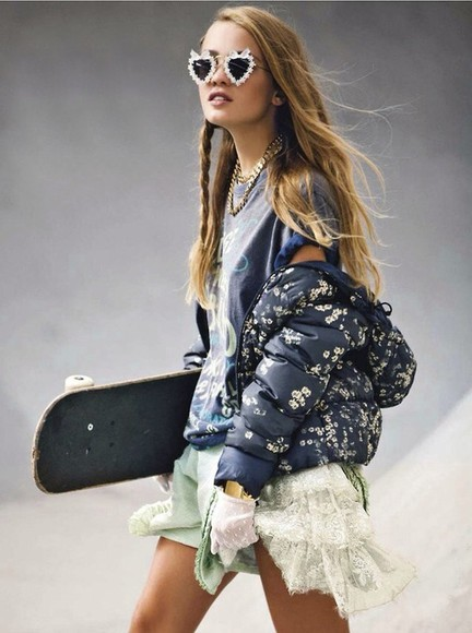 jacket floral print jacket editorial model