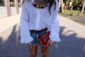 style by nelli,blogger,blouse,shorts,bag,shoes