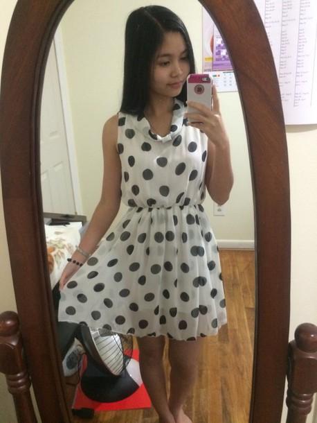 dress white black polka dots