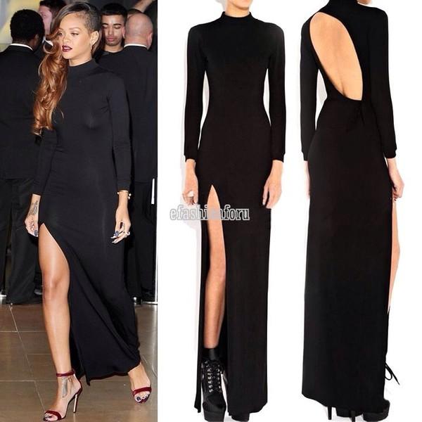 Dress Black Dress Slit Dress Rihanna Turtleneck Long