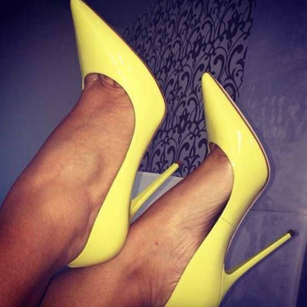 shoes heels high heels cute yellow yellow shoes size 6 shoe pink sexy pumps stilettos girly fashion style pretty cute high heels any color plastic pointed toe nice sexy shoes yellow high heels pointed toe pumps louboutin