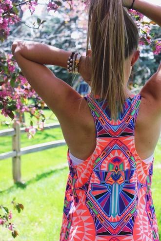 top aztec top vest bright summer top orange purple