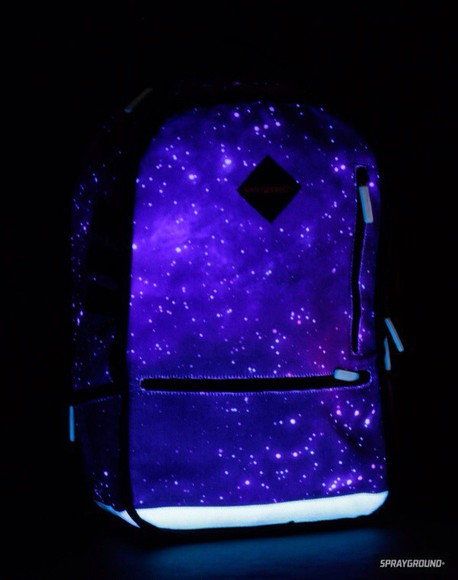 galaxy print bag glow backpack yeah