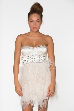 """""""lacey"""" lyserød kjole m. fjer og sten"""