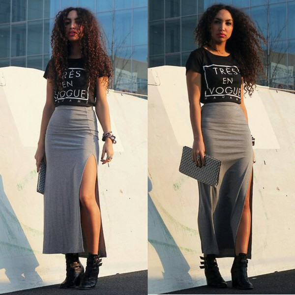 Skirt: black crop top, grey skirt, long skirt with cut, long grey ...