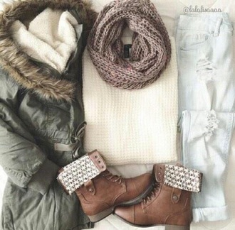 jeans light jeans light blue ripped jeans ripped boots combat boots military green skinny jeans scarf infinity scarf sweater white sweater military coat shoes coat