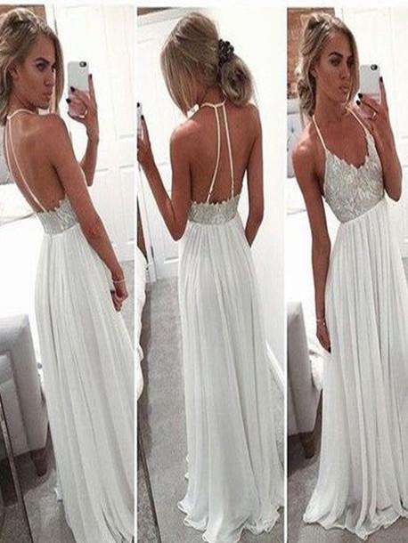 c56840a762de dress long prom dress white open back spaghetti strap lace off the shoulder  sexy unique style