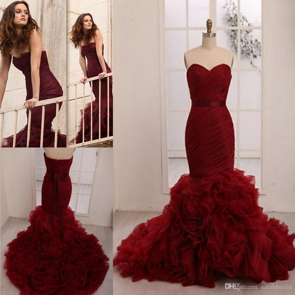 Colorful Wedding Dresses Leighton Meester Celebrity 2015 Plus Size Personalized Wine Red Burgundy Flouncing Organza Hot Mermaid Bridal Gowns Online with $144.02/Piece on Sarahbridal's Store | DHgate.com