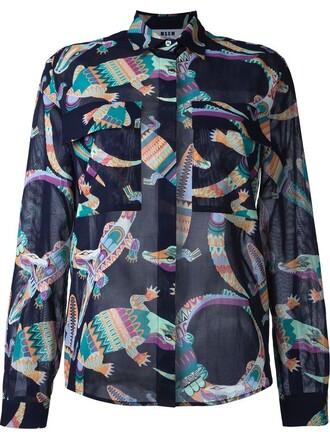 blouse printed blouse women cotton blue top