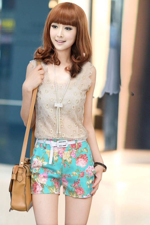 shorts floral women fashion cute