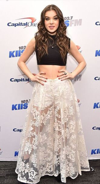 skirt maxi skirt lace lace skirt hailee steinfeld crop tops top see through