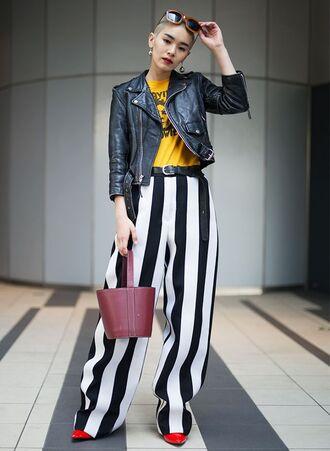 pants tumblr wide-leg pants stripes striped pants bag handbag t-shirt yellow jacket denim jacket denim