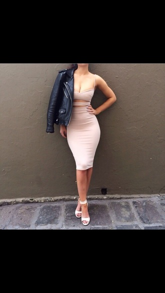 dress pink dress nude dress side cutout dress sleeveless dress sleeveless
