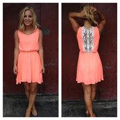 dress,lace back,coral,summer dress
