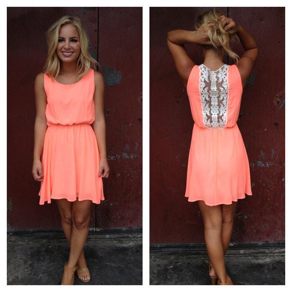 dress lace back coral summer dress