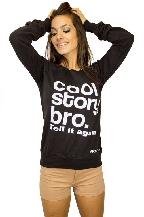 Cool story bro tell it again in white off the shoulder sweater pullover sweatshirt