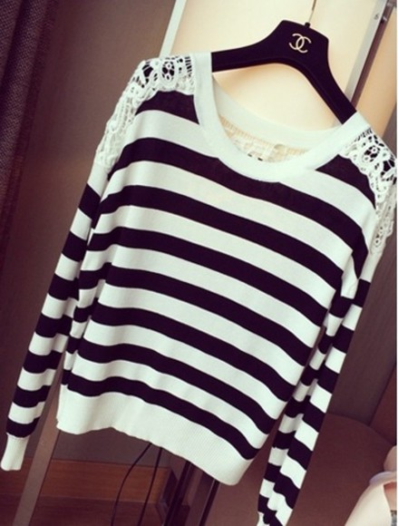 shirt stripes sweater blouse laces top casual sexy blogger fashion style\ nail polish
