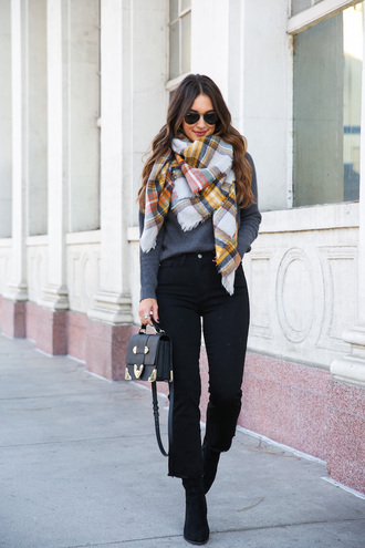 sweater scarf tumblr grey sweater turtleneck sweater denim jeans black jeans kick flare bag boots black boots sunglasses