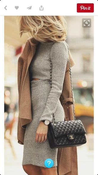 dress grey dress crip top sweater dress