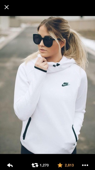 jacket white t-shirt white top white jacket nike sweater