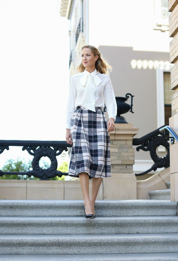 woodland plaid midi skirt