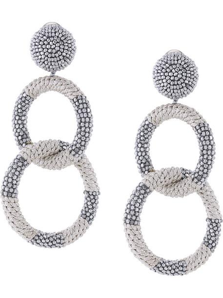 oscar de la renta metal women beaded earrings grey metallic jewels