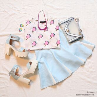 t-shirt pale pastel pastel grunge pale grunge tumblr japanese kawaii ice cream pink cute trendy outfit cute outfits shoes heels pastel heels pastel shoes bag boho chic skirt pastel skirt short skirt tumblr outfit candy