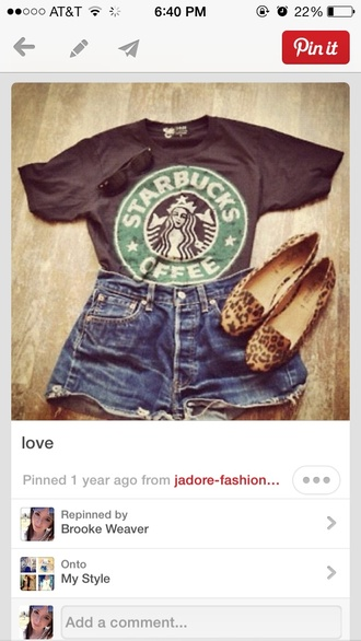 t-shirt starbucks coffee jeans grey leopard print shoes shorts