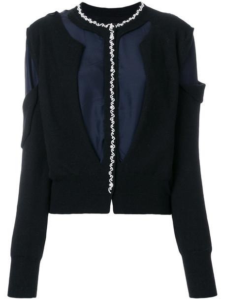 Maison Margiela - bicolour jacket with pearl embroidery - women - Silk/Polyamide/Wool - L, Black, Silk/Polyamide/Wool