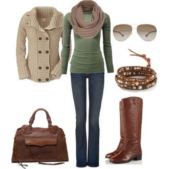 jeans sweater tan scarf green long sleeve shirt cream sweater sunglasses brown leather boots leather purse bracelets blouse cardigan bag shoes boots purse jacket shirt top scarf braclet