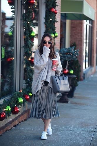 fashionably kay blogger sweater skirt bag shoes oversized sweater grey sweater handbag grey bag sneakers midi skirt pleated skirt