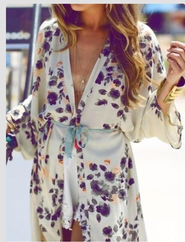 Floral dress ivory white kimono satin silk fashion style pinterest - Wheretoget