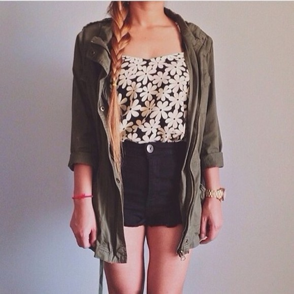 jacket tank top army jacket army green black shirt white floral floral tank top daisy high waisted black shorts