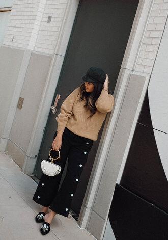 pants black shoes hat tumblr black pants wide-leg pants shoes sweater camel camel sweater bag handbag fisherman cap