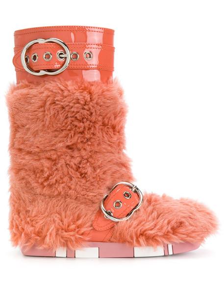 fur women leather cotton yellow orange shoes
