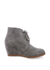 shoes,grey,suede,wedges,wedge booties,booties,lace up