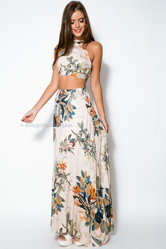 dress two piece dress set two-piece maxi skirt crop tops floral floral dress this is so cute kjfasdhfjshadkfsd bohomiam style bohomian bohomeien print dress beach dress summer dress skirt set