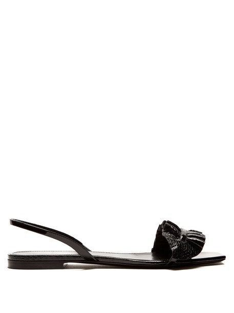 Saint Laurent ruffle sandals leather sandals leather black shoes