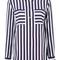Equipment striped pocket shirt, women's, size: large, white, silk