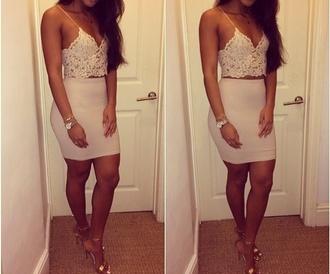 shoes tank top skirt beige beige skirts beige tank top gold high heels crochet crochet top croche