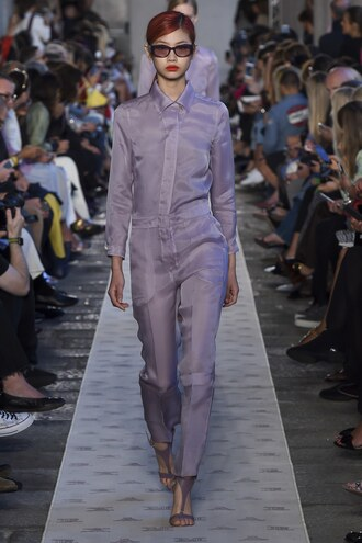jumpsuit pants top shirt milan fashion week 2017 max mara lilac sunglasses